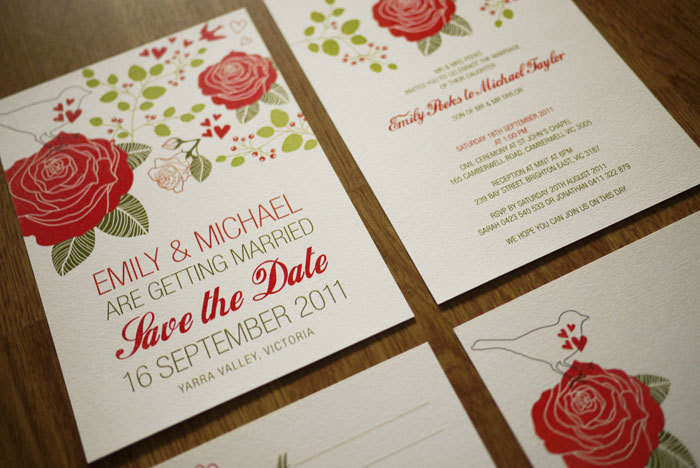 Rose Garden - Wedding Invitation Set (PRINTABLE) - Set of 4