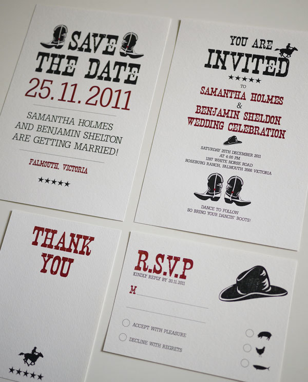Western Country Wedding Invitation Set PRINTABLE Set of 4