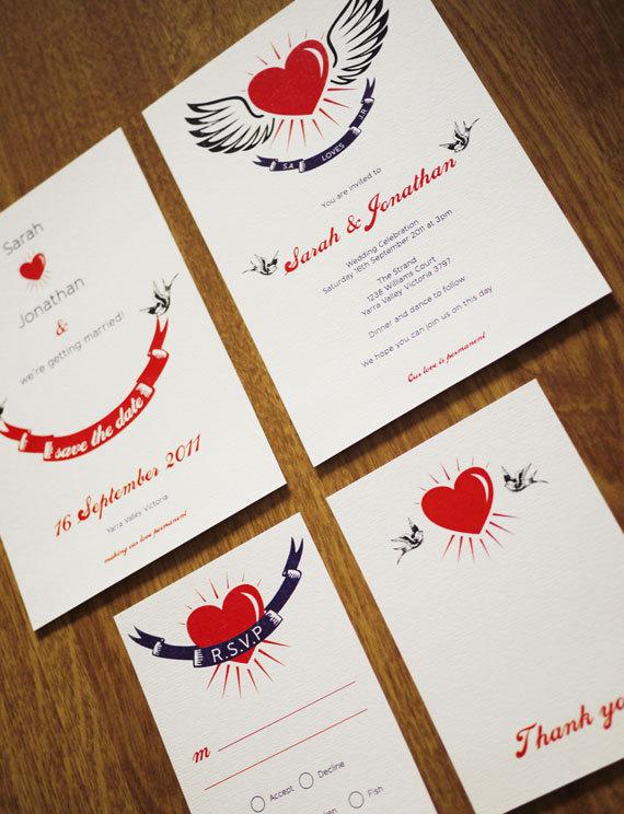 Retro Tattoo Wedding Invitation Set PRINTABLE Set of 4