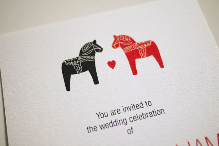 Scandinavian Dala Horse - Wedding Invitation (PRINTABLE)