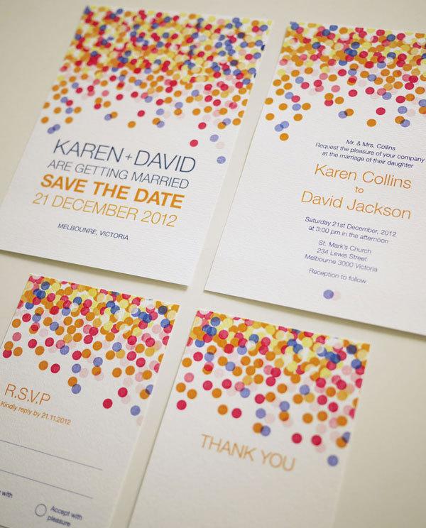 Colorful Confetti Wedding Invitation Set Printable