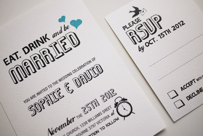 Perfect Eat. Drink And Be Married   Wedding Invitation Sample Set